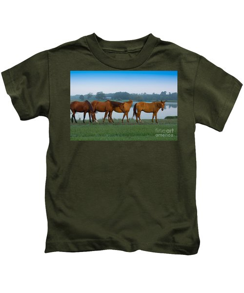 Horses On The Walk Kids T-Shirt