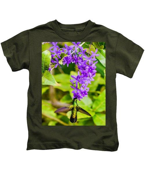 Humming Bird Flowers Kids T-Shirt