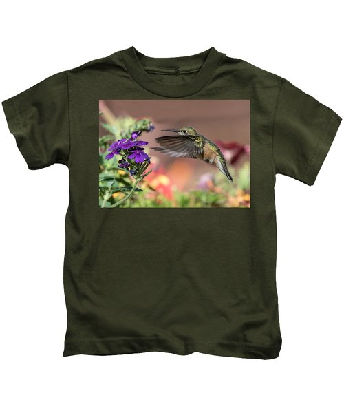 Hummingbird And Purple Flower Kids T-Shirt