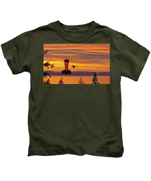 Hummingbird At Sunset. Kids T-Shirt