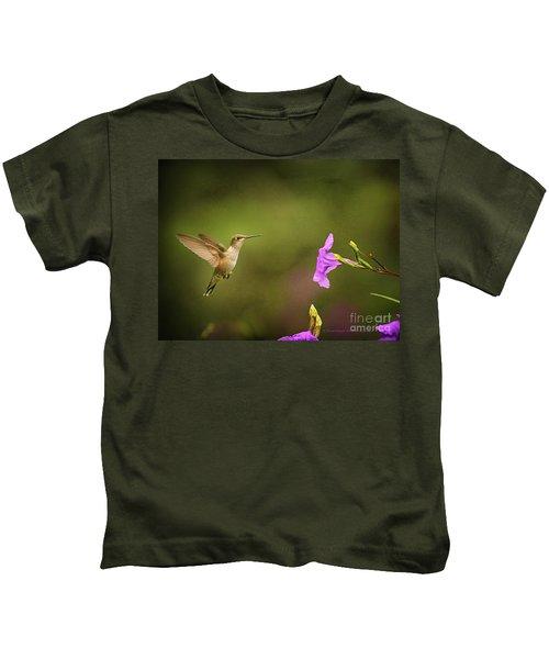 Hummingbird Pink Flower Kids T-Shirt