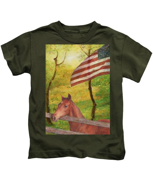 Illustrated Horse In Golden Meadow Kids T-Shirt