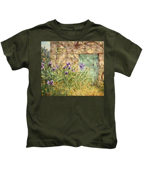 Irises At The Old Barn Kids T-Shirt