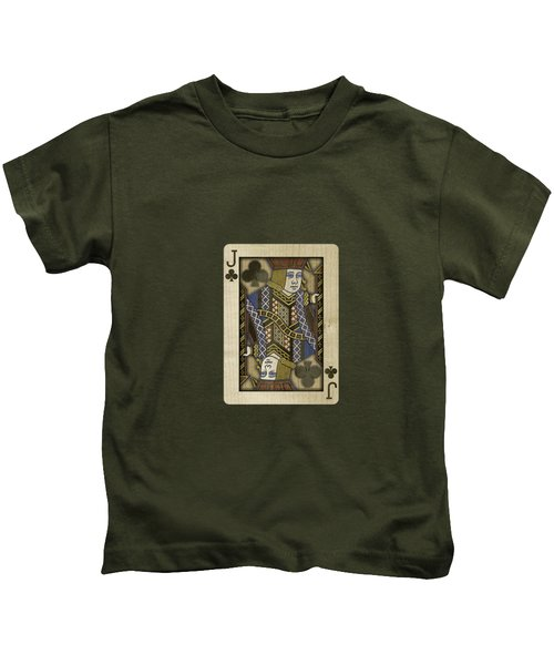 Jack Of Clubs In Wood Kids T-Shirt