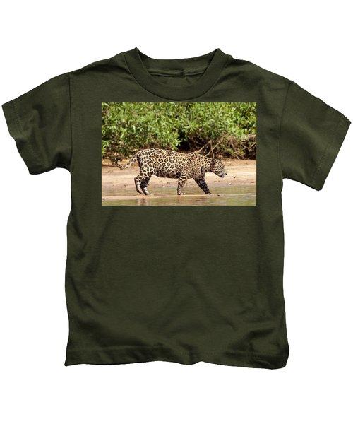 Jaguar Walking On A River Bank Kids T-Shirt