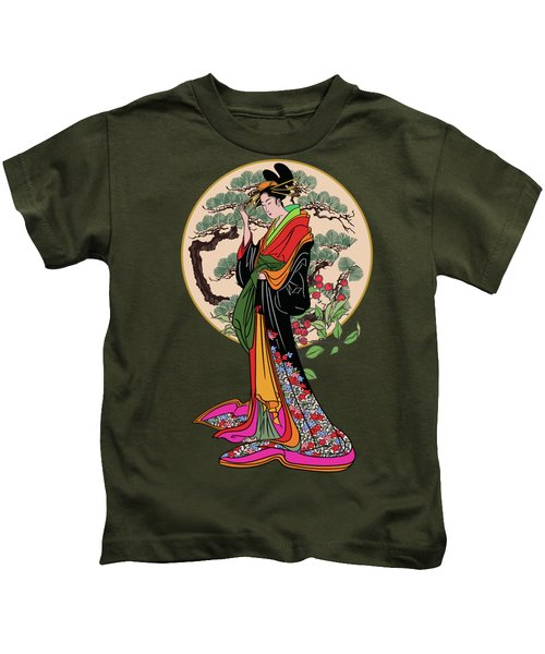 Japanese Girl With A Landscape In The Background. Kids T-Shirt