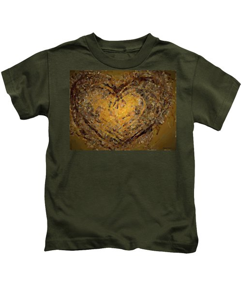Kids T-Shirt featuring the mixed media Jeweled Heart by Marian Palucci-Lonzetta