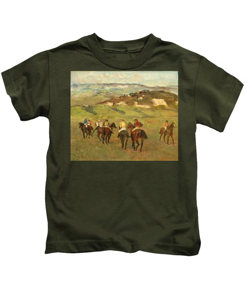 Jockeys On Horseback Before Distant Hills Kids T-Shirt