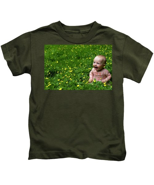 Joyful Baby In Flowers Kids T-Shirt