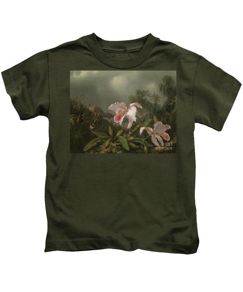 Jungle Orchids And Hummingbirds, 1872  Kids T-Shirt