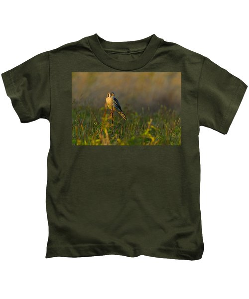 Kids T-Shirt featuring the pyrography Kestrel In Meadow by William Jobes