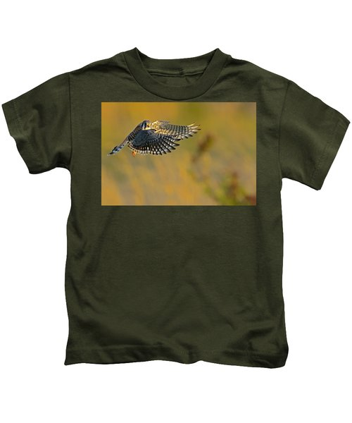 Kids T-Shirt featuring the photograph Kestrel Takes Flight by William Jobes