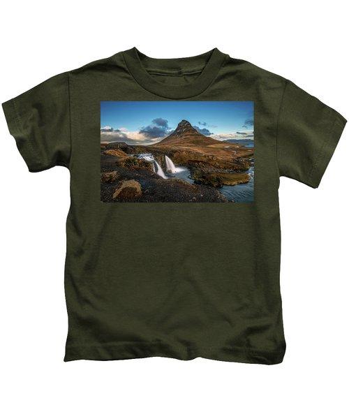 Kirkjufellsfoss Waterfall And Kirkjufell Mountain, Iceland Kids T-Shirt