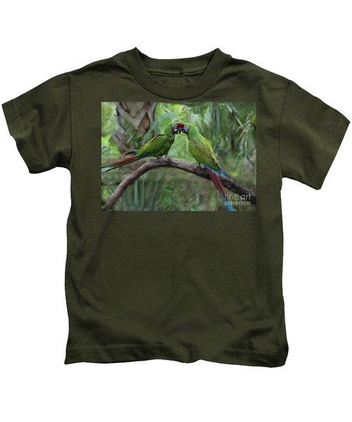 Kissing Macaws Kids T-Shirt