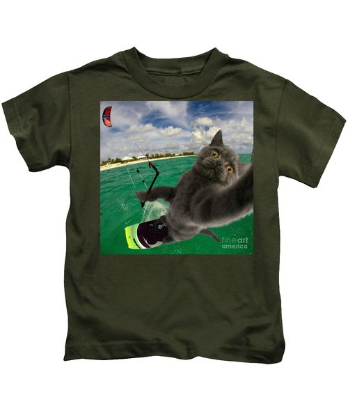 Kite Surfing Cat Selfie Kids T-Shirt