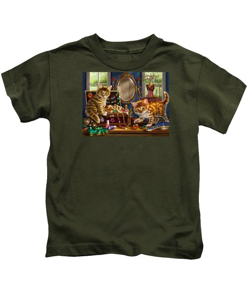Kittens With Jewelry Box Kids T-Shirt