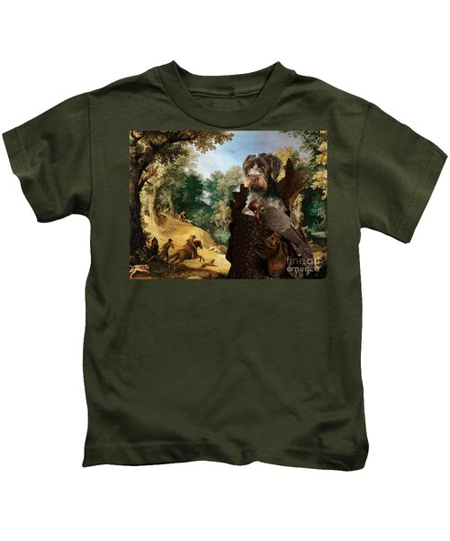 Korthals Pointing Griffon Art Canvas Print - The Hunters And Lady Falconer Kids T-Shirt