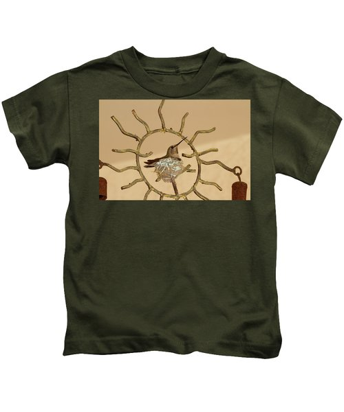 Lady Hummingbird On Her Nest Kids T-Shirt