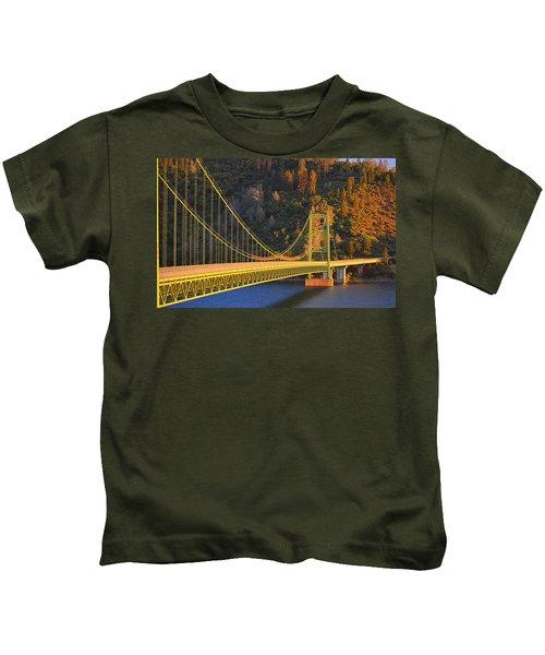 Lake Oroville Green Bridge At Sunset Kids T-Shirt