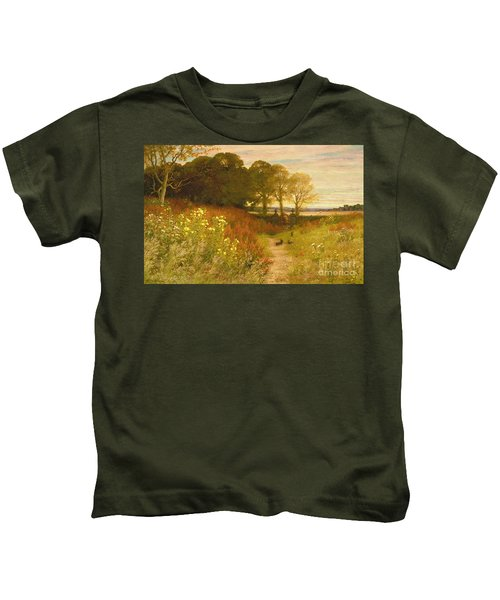 Landscape With Wild Flowers And Rabbits Kids T-Shirt