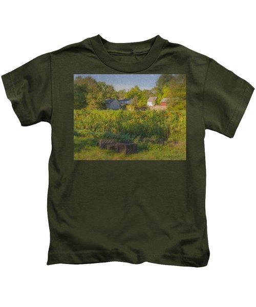 Langwater Farm Sunflowers And Barns Kids T-Shirt