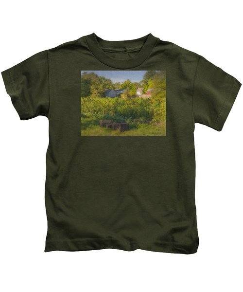 Langwater Farm Sunflowers And Barns Kids T-Shirt