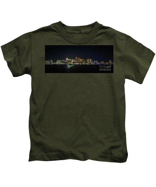 Large Panoramic Of Downtown Boston At Night Kids T-Shirt