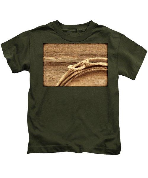 Lariat On Wood Kids T-Shirt