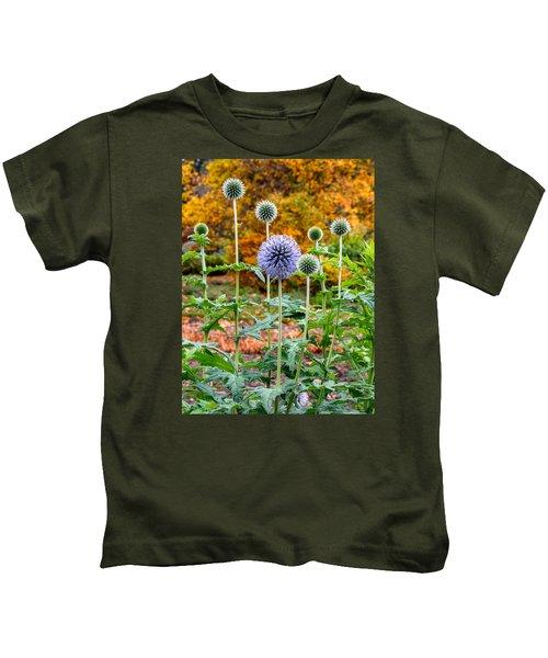 Late Bloom Among Fall Colors Kids T-Shirt