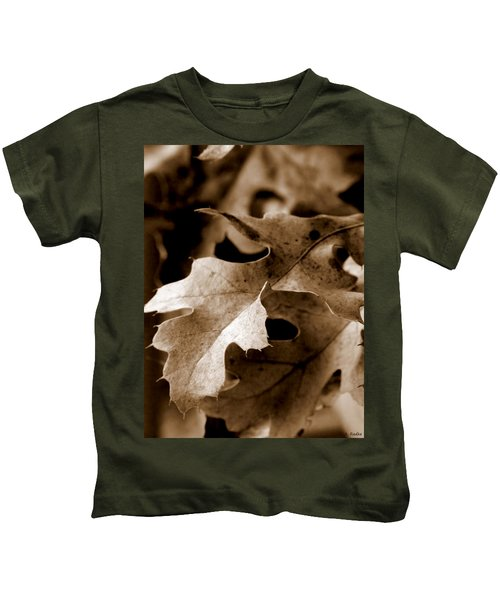 Leaf Study In Sepia IIi Kids T-Shirt