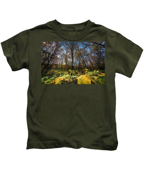 Leafy Yellow Forest Carpet Kids T-Shirt