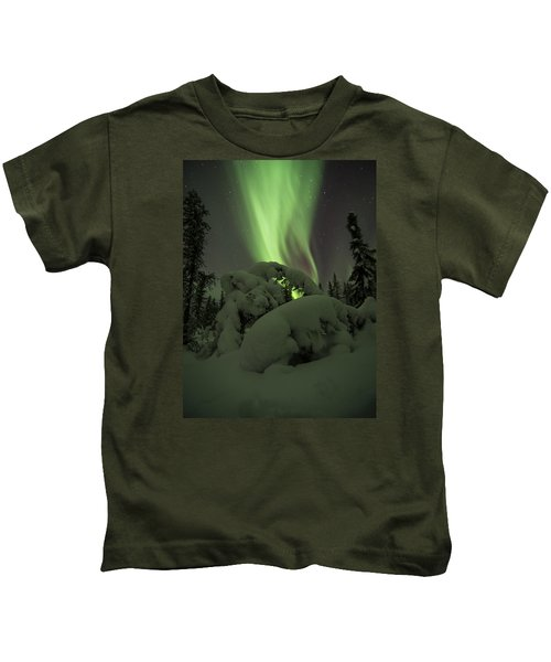 Leaning Spruce Aurora Kids T-Shirt