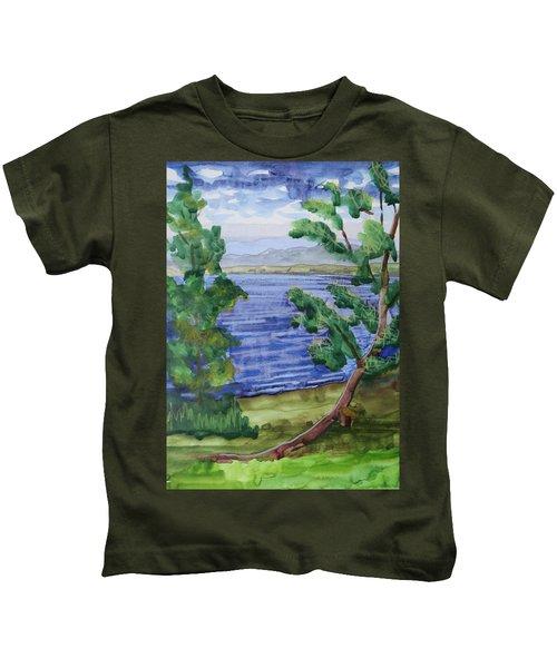 Leaning Tree By Lake Sacandaga Kids T-Shirt