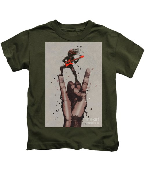 Kids T-Shirt featuring the painting Let's Rock by Tithi Luadthong