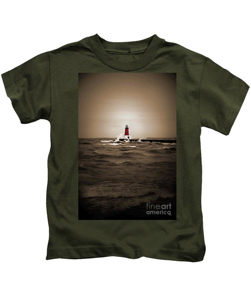 Lighthouse Glow Sepia Spot Color Kids T-Shirt