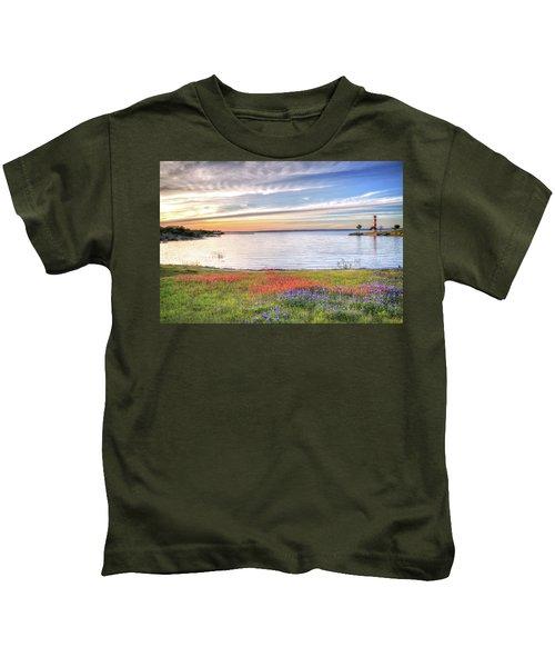 Lighthouse Sunset At Lake Buchanan Kids T-Shirt
