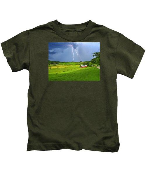 Lightning Storm Over Jenne Farm Kids T-Shirt