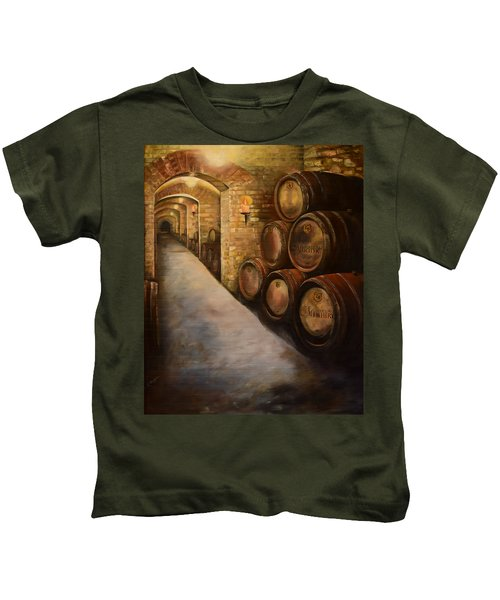 Lights In The Wine Cellar - Chateau Meichtry Vineyard Kids T-Shirt