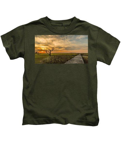 Lone Cedar Dock Sunset - Dewees Island Kids T-Shirt