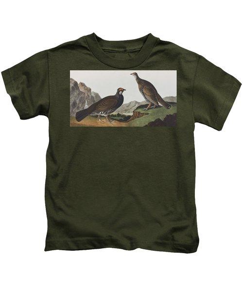 Long-tailed Or Dusky Grous Kids T-Shirt by John James Audubon