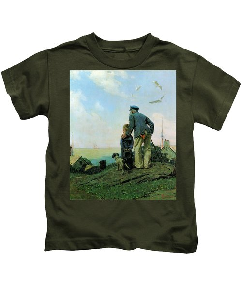 Looking Out To Sea Kids T-Shirt