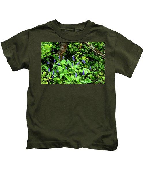 Lush Purple Flowers In The Woods Kids T-Shirt