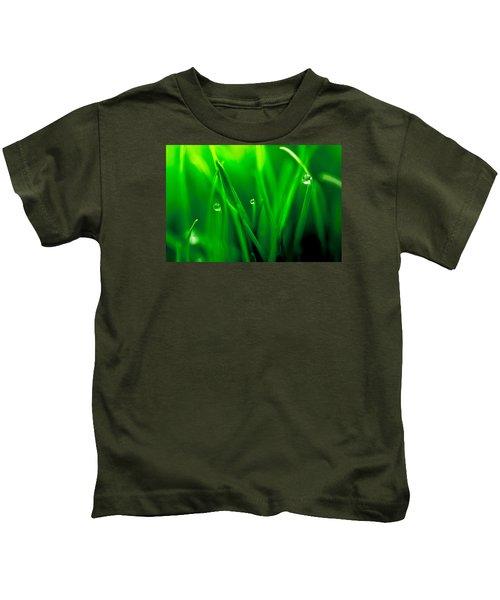 Macro Image Of Fresh Green Grass Kids T-Shirt