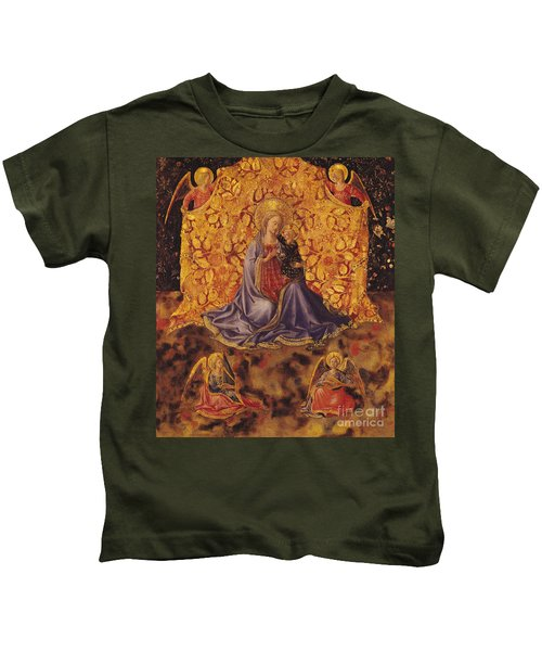 Madonna Of Humility With Christ Child And Angels Kids T-Shirt