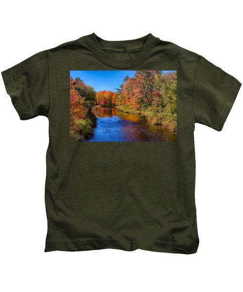 Maine Brook In Afternoon With Fall Color Reflection Kids T-Shirt