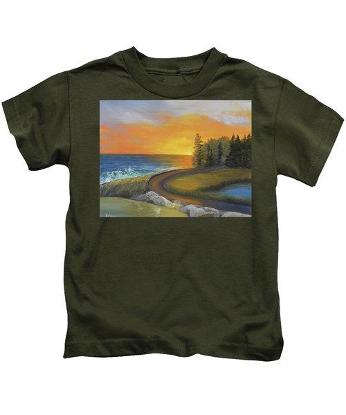 Maine Ocean Sunrise Kids T-Shirt