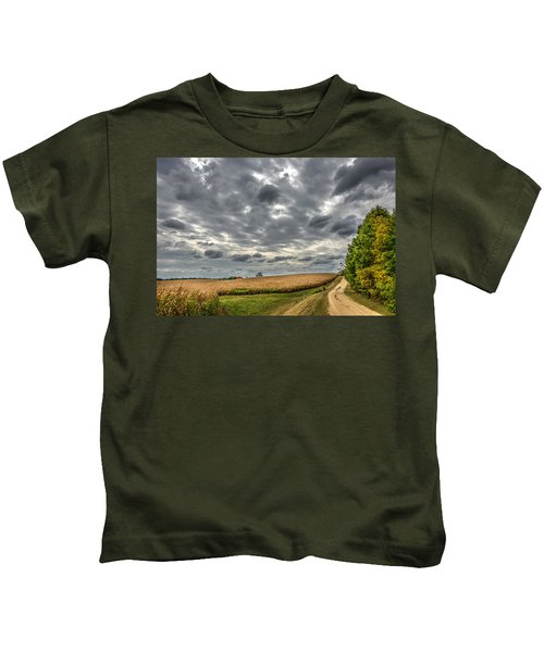 Maryland Country Road In Autumn At Twilight Kids T-Shirt