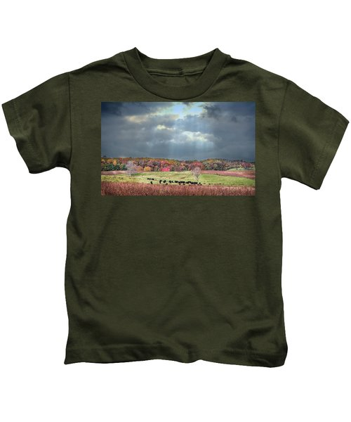 Maryland Farm With Autumn Colors And Approaching Storm Kids T-Shirt