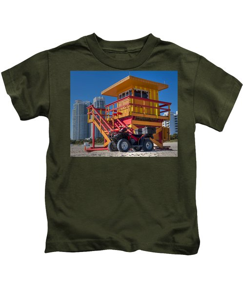 Miami Beach Lifeguard House Ocean Rescue Kids T-Shirt by Toby McGuire