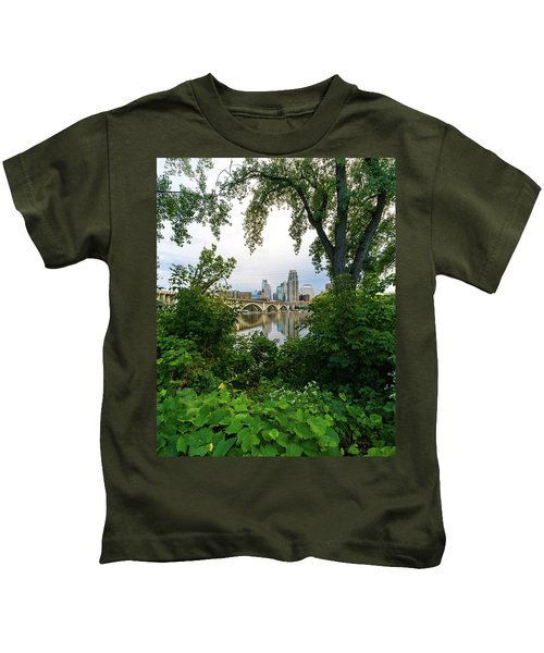 Minneapolis Through The Trees Kids T-Shirt